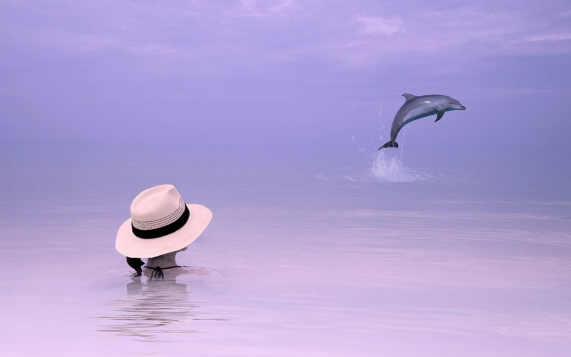 girl  sea  dolphin  background  style mood ocean dolphins sky women females wallpaper