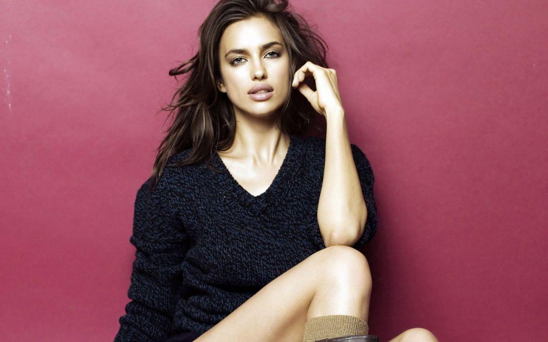 Irina Shayk  Irina Sheik  model fashion glamour women females girls brunette face eyes legs sexy babes wallpaper