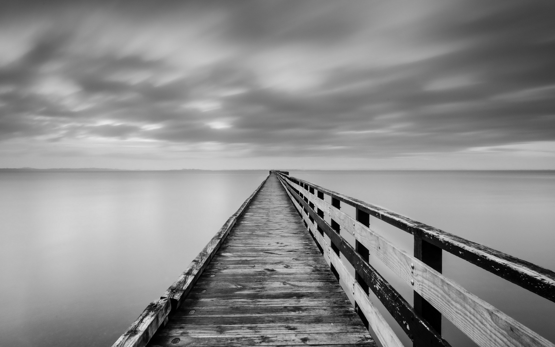 lake bridge fog ocean sea black white monochrome sky