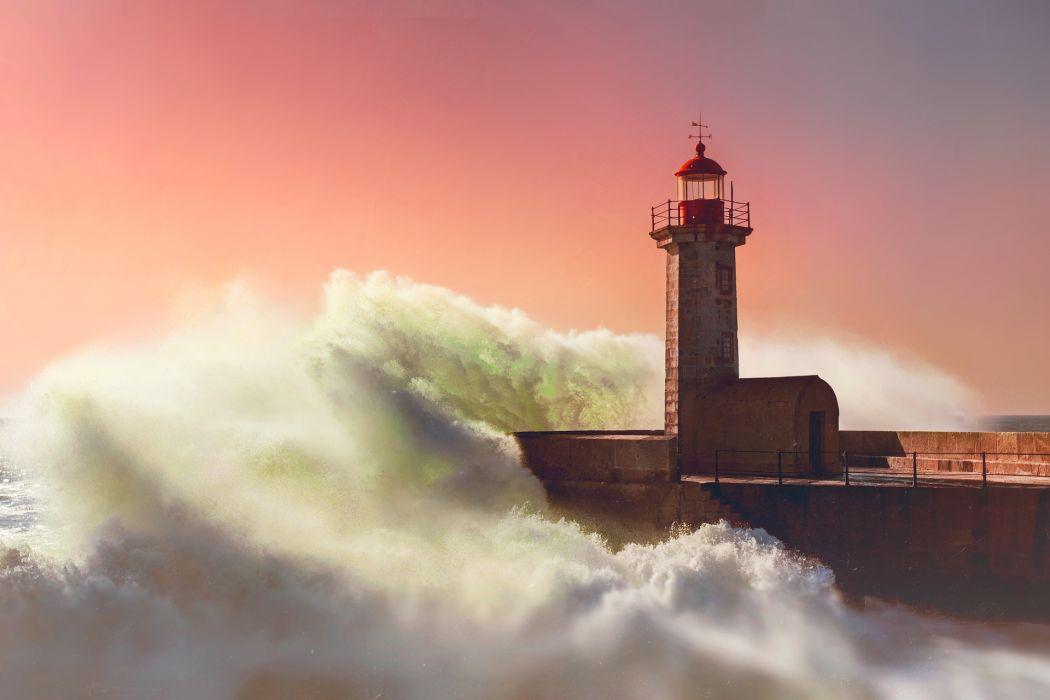 lighthouse wave sea evening ocean architecture sunset sunrise wallpaper