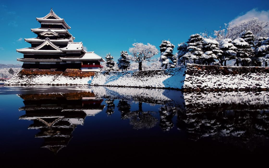 Matsumoto Castle raven sky water reflection winter snow japan water lakes buildings architecture asian oriental wallpaper