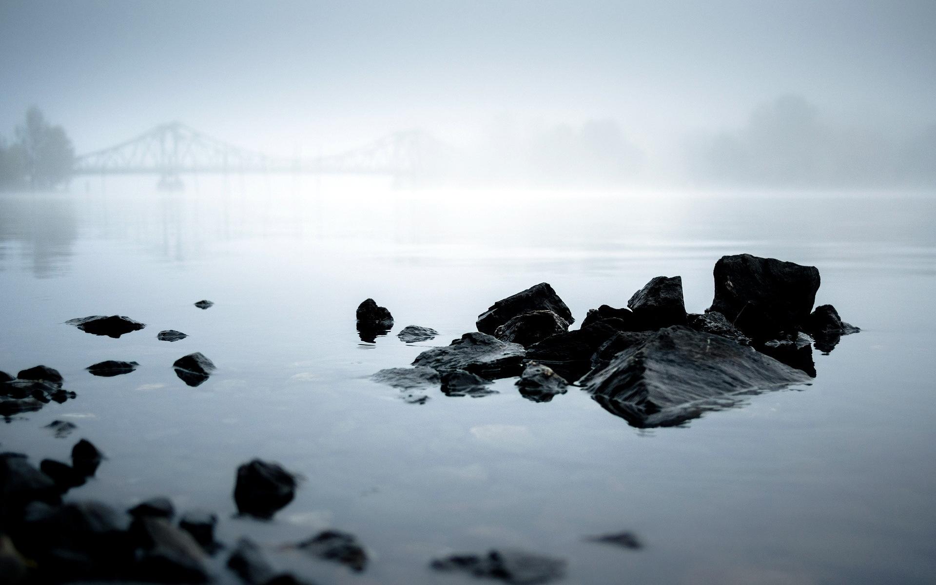 Morning river fog landscape shore reflection mist bridge wallpaper