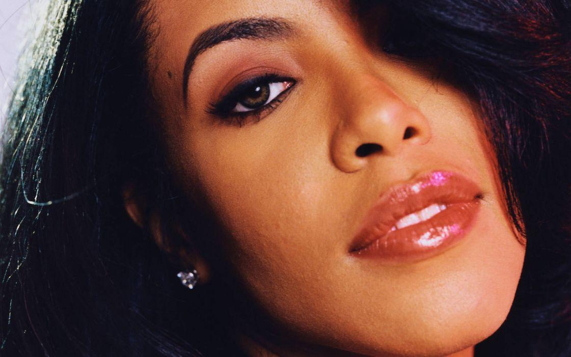 Aaliyah music singer women females girls sexy babes face eyes wallpaper
