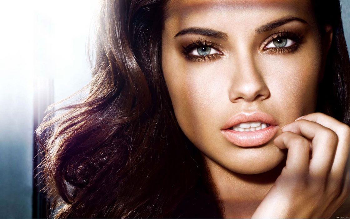 Adriana Lima women sexy fashion models brunettes glamour babes face eyes       f wallpaper