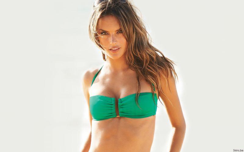 Alessandra Ambrosio fashion glamour model brunettes women females girls sexy babes swimwear bikini q wallpaper