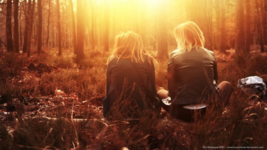 Blonde Sunlight Trees mood forest sunset sunrise friends women females girls babes wallpaper