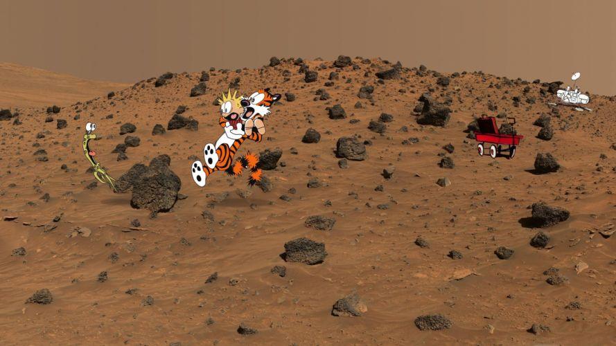 Calvin and Hobbes Mars Alien Landscape Alien Scared sci-fi wallpaper