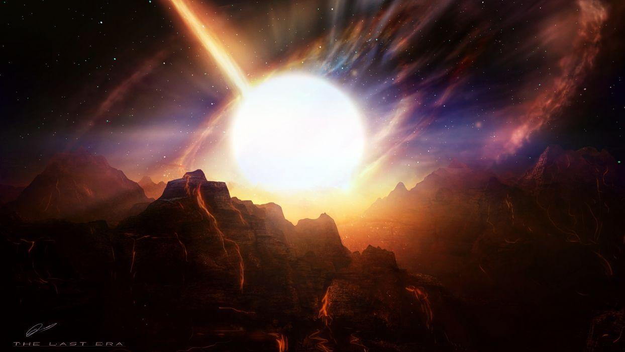 Alien Landscape Planet Stars Starlight Mountains Art