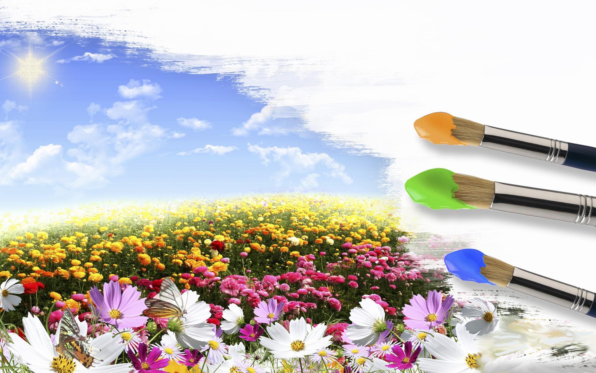 Ipad Retina Wallpaper Art Pain Brush: Art Pole_tsvetov Sky Brush Sun Summer Spring Sky Clouds