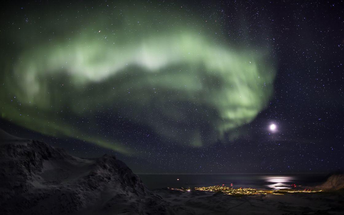 Aurora Borealis Northern Lights Night Green Snow Winter Moonlight sky stars cities ocean sea reflection wallpaper