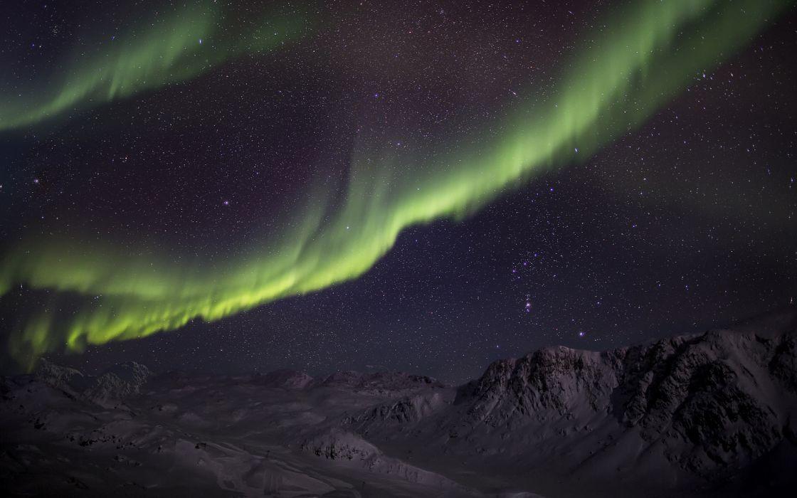 Aurora Borealis Northern Lights Night Green Stars sky landscapes mountains wallpaper