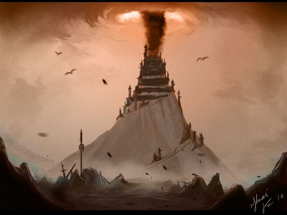 dragons fantasy castle buildings architecture mountains flight fly landscapes wallpaper