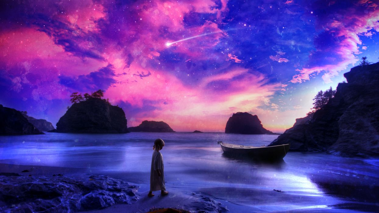 Child Shore Beach Purple Boat Stars Shooting Star fantasy ocean sea babies children sky clouds cartoon landscapes wallpaper