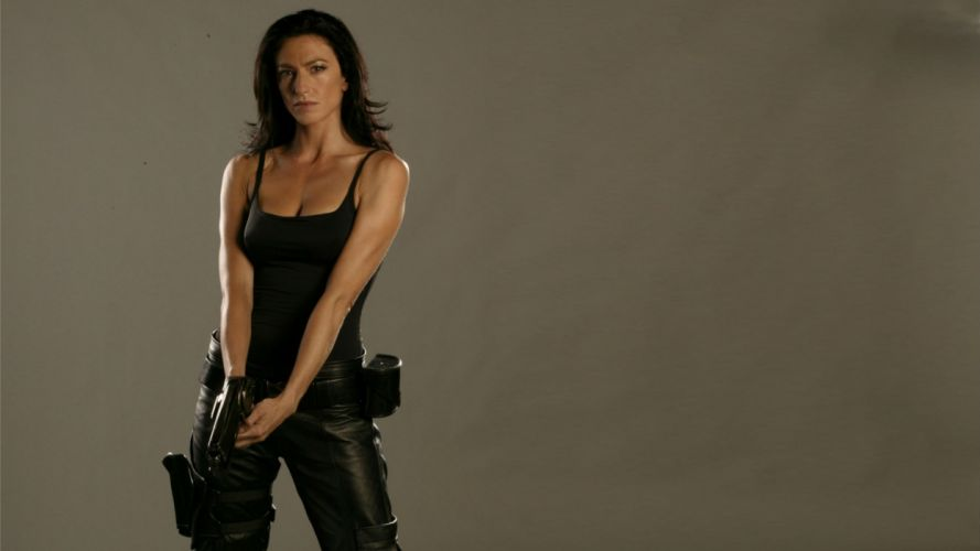 Claudia Black Brunette Farscape movies actress women females girls sexy babes weapons guns pistol wallpaper