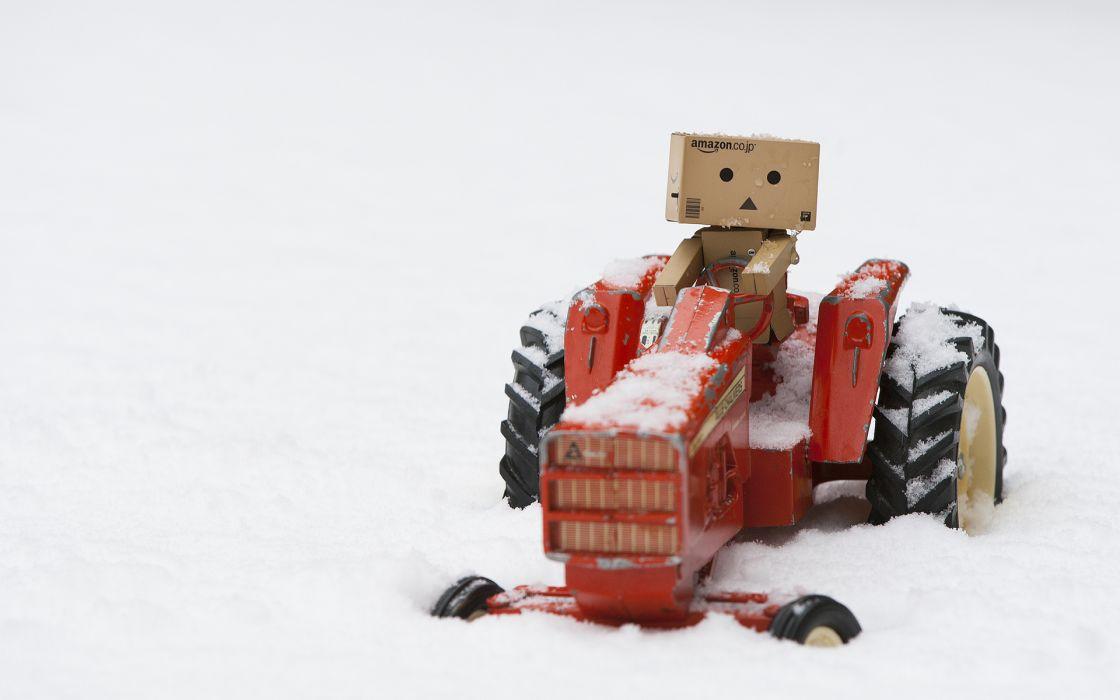 Danbo Tractor Miniature Snow Winter humor amazon wallpaper