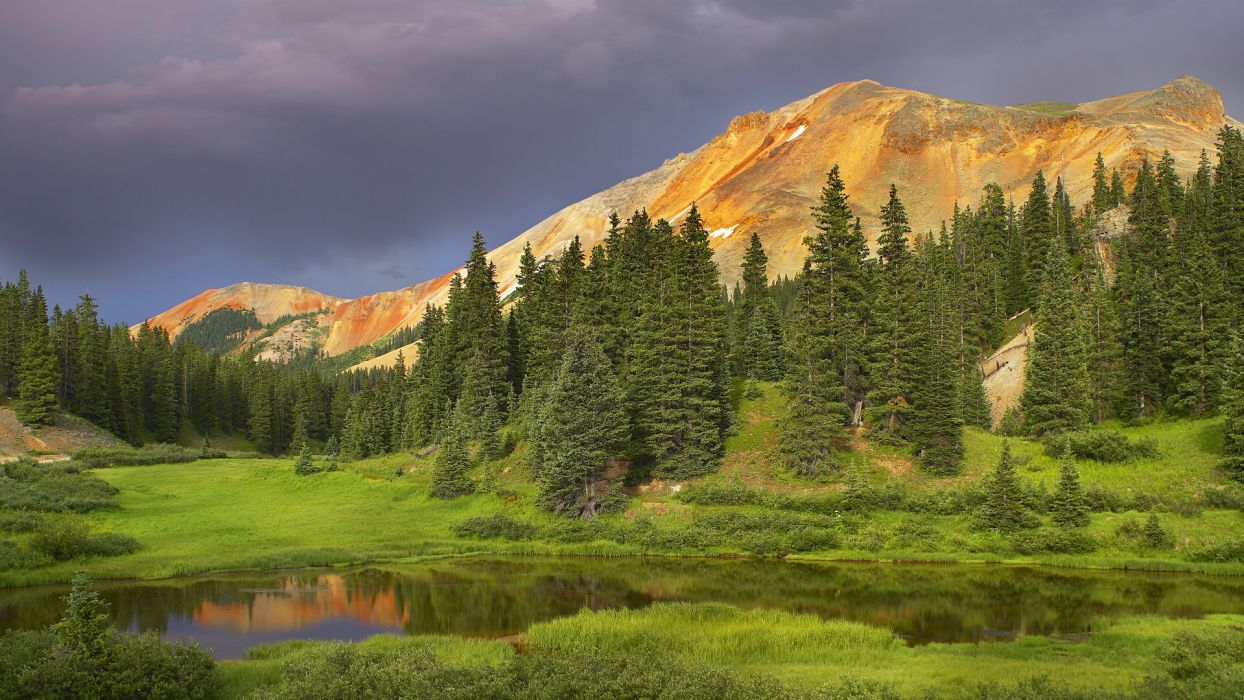 forest  mountains  nature  trees lakes reflection sky wallpaper