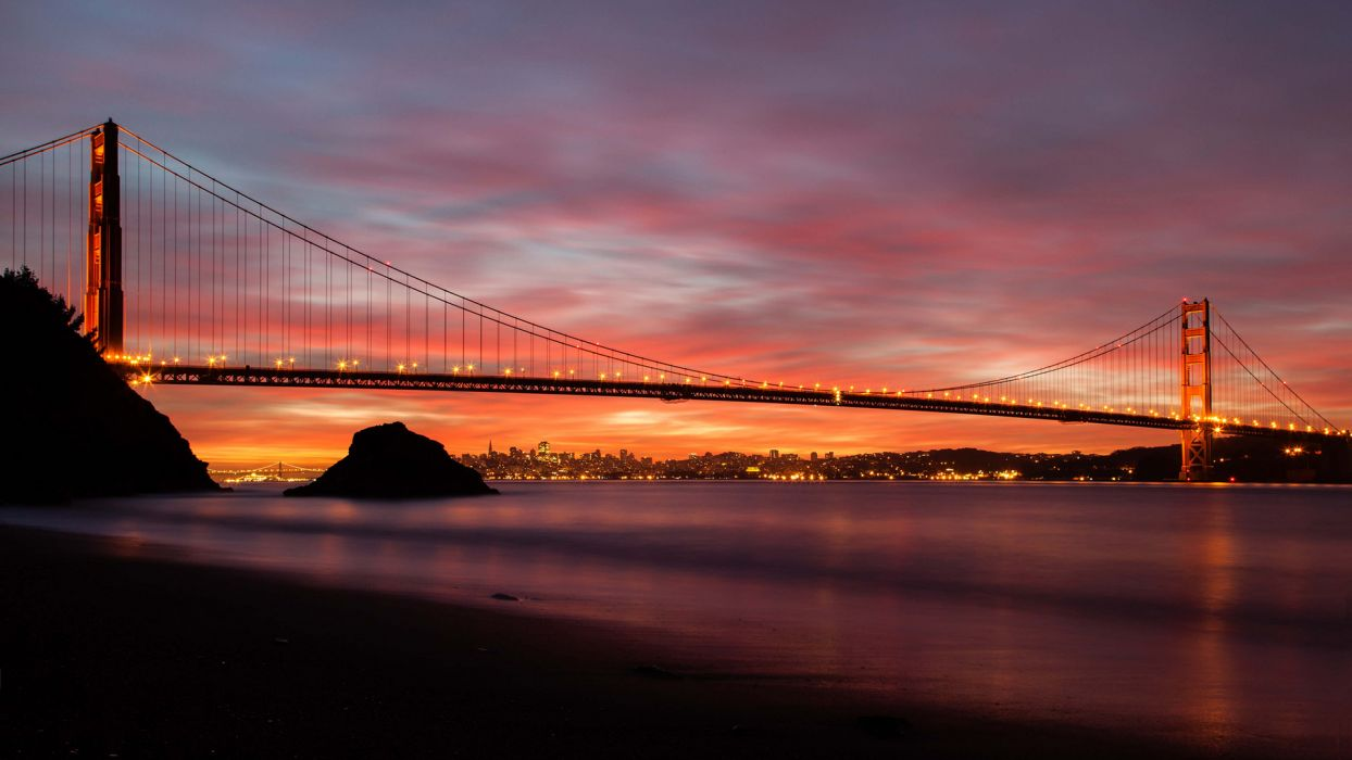 Golden Gate Bridge Bridge San Francisco Sunset Beach Shore Ocean cities shore sky clouds buildings wallpaper