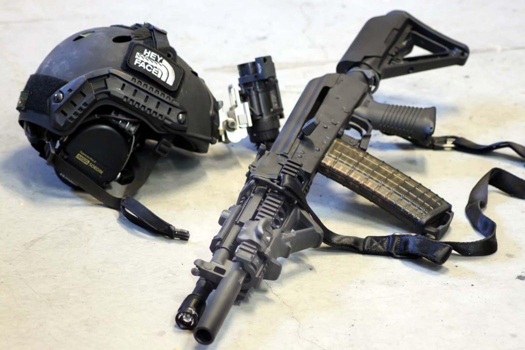 Haley Strategic  weapon  helmet  AK102  automatic guns assault rifles wallpaper