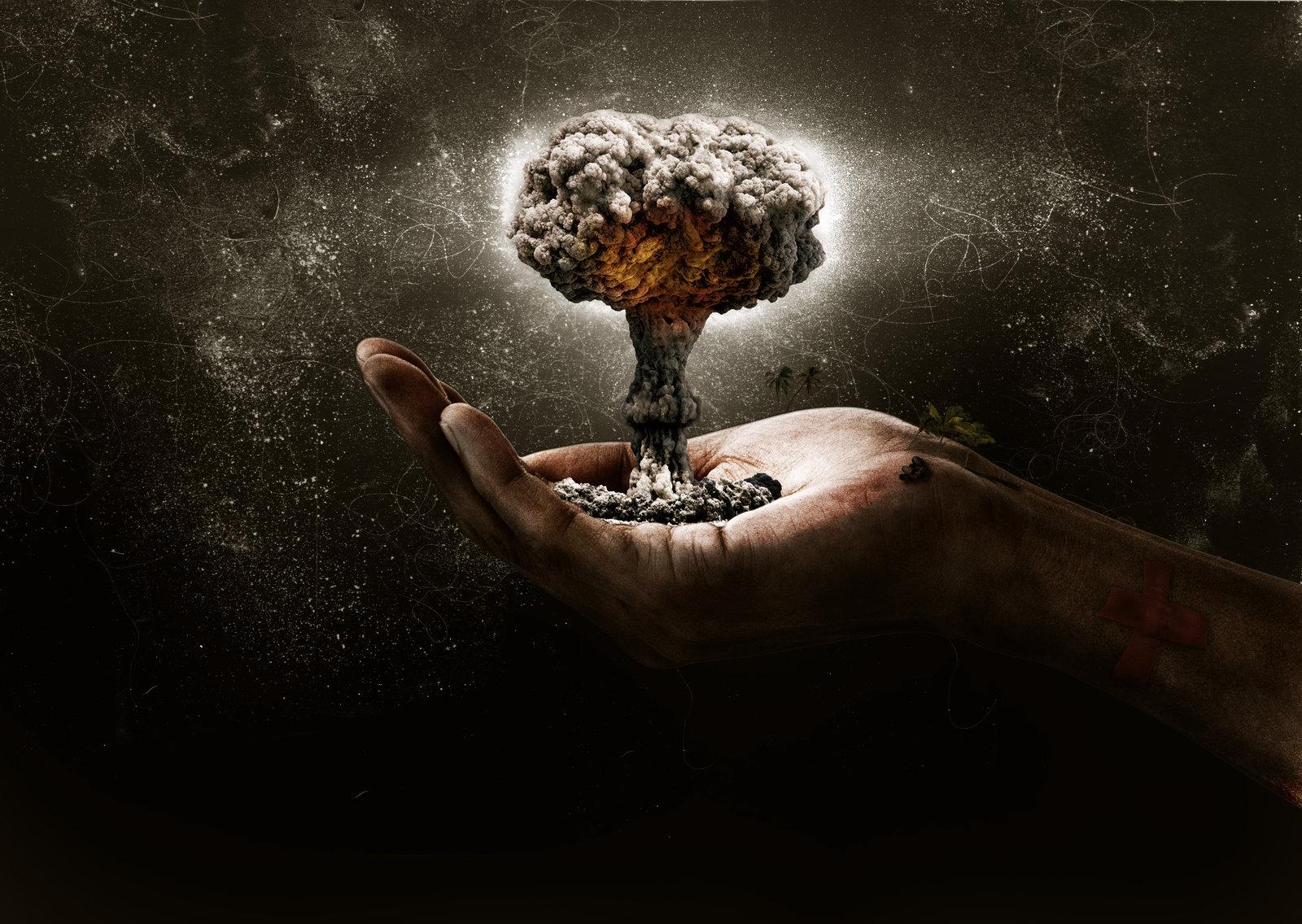 hand mushroom cloud blast explosion miniature dark nuclear