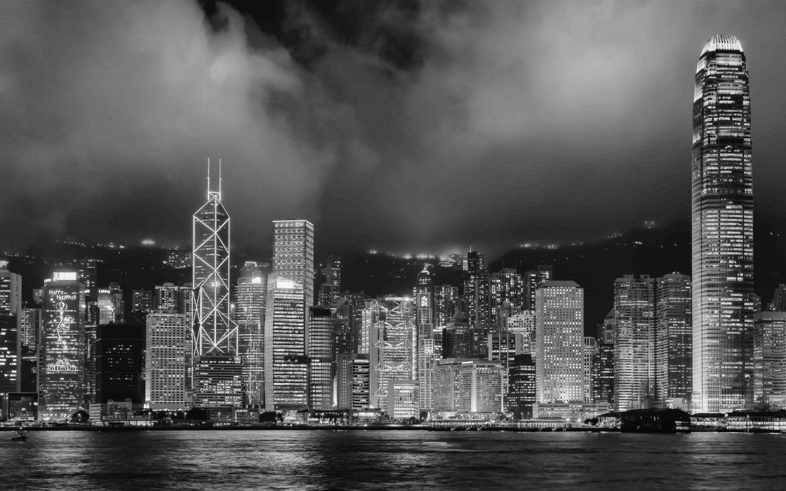 Hong kong buildings skyscrapers night bw black white monochrome wallpaper