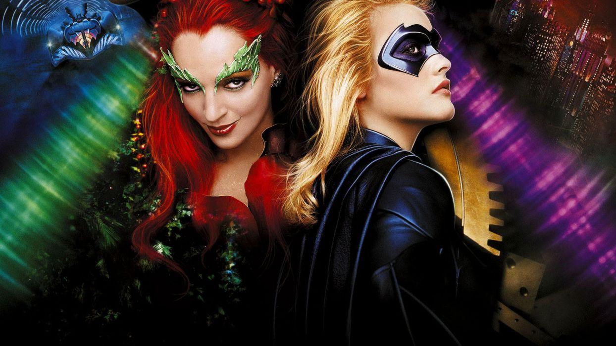 Ivy Batgirl Batman and Robin movies women females girls blondes redheads face babes wallpaper