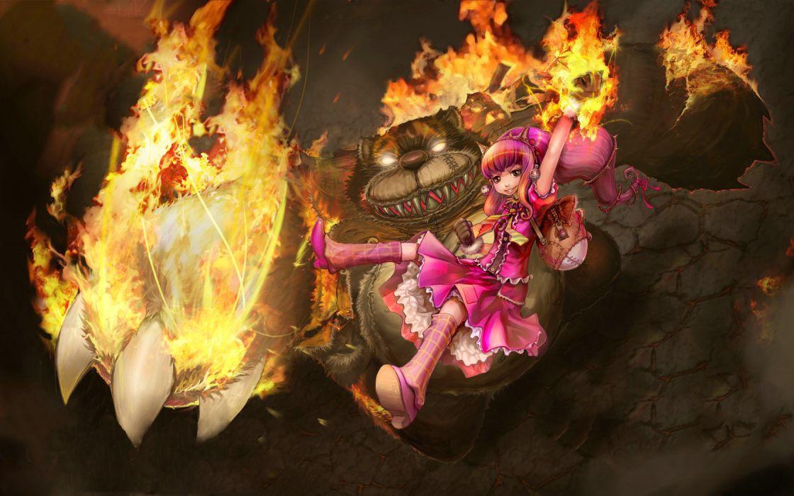 League of Legends Drawing fantasy monster girl bears fire flames wallpaper