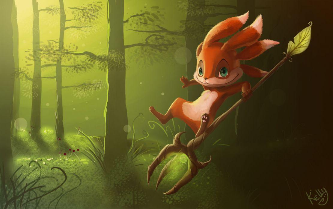 League of Legends Fizz Green trees forest wallpaper