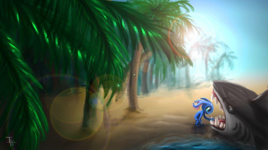 League of Legends Tropical Drawing Beach Shark Fizz wallpaper