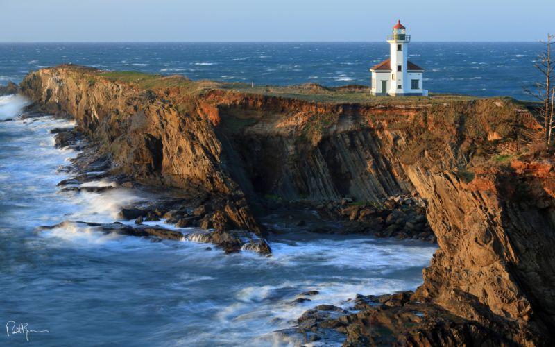 Lighthouse Coast Ocean Cliff sea shore coast buildings architecture landscapes wallpaper