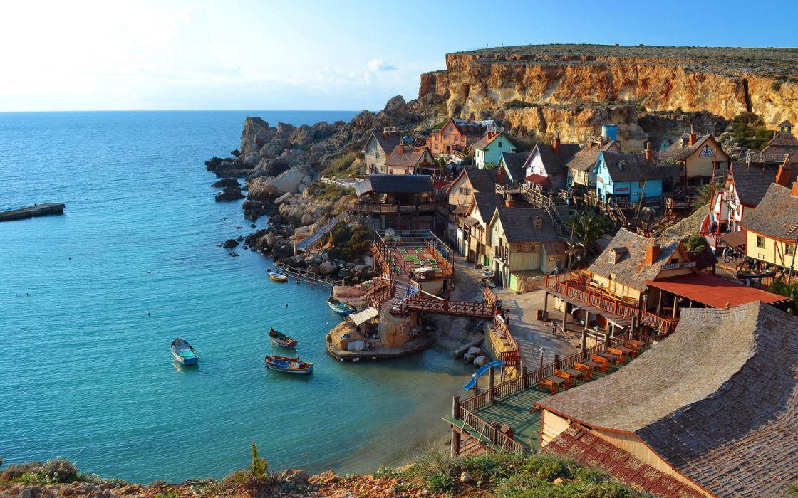 Malta Coast Sea Mellieha Cities buildings houses ocean boats landscapes cliff shore wallpaper