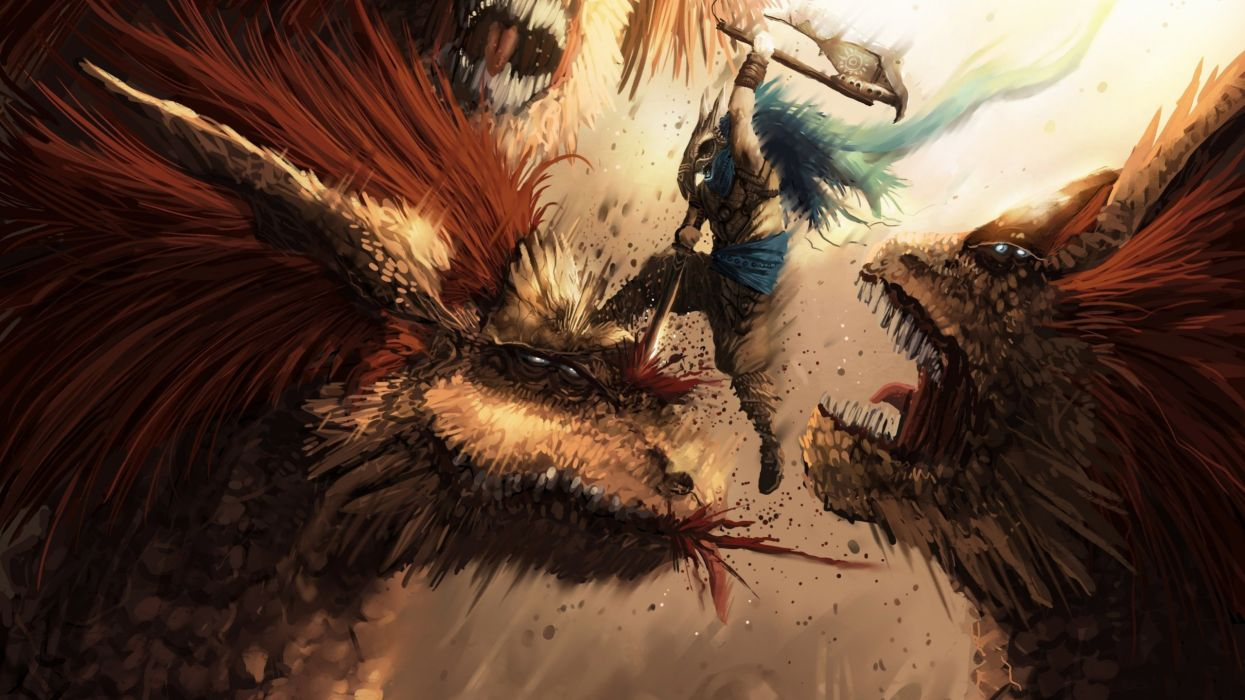 Monster Hunter fantasy battle weapons sword warrior blood monsters creatures art wallpaper