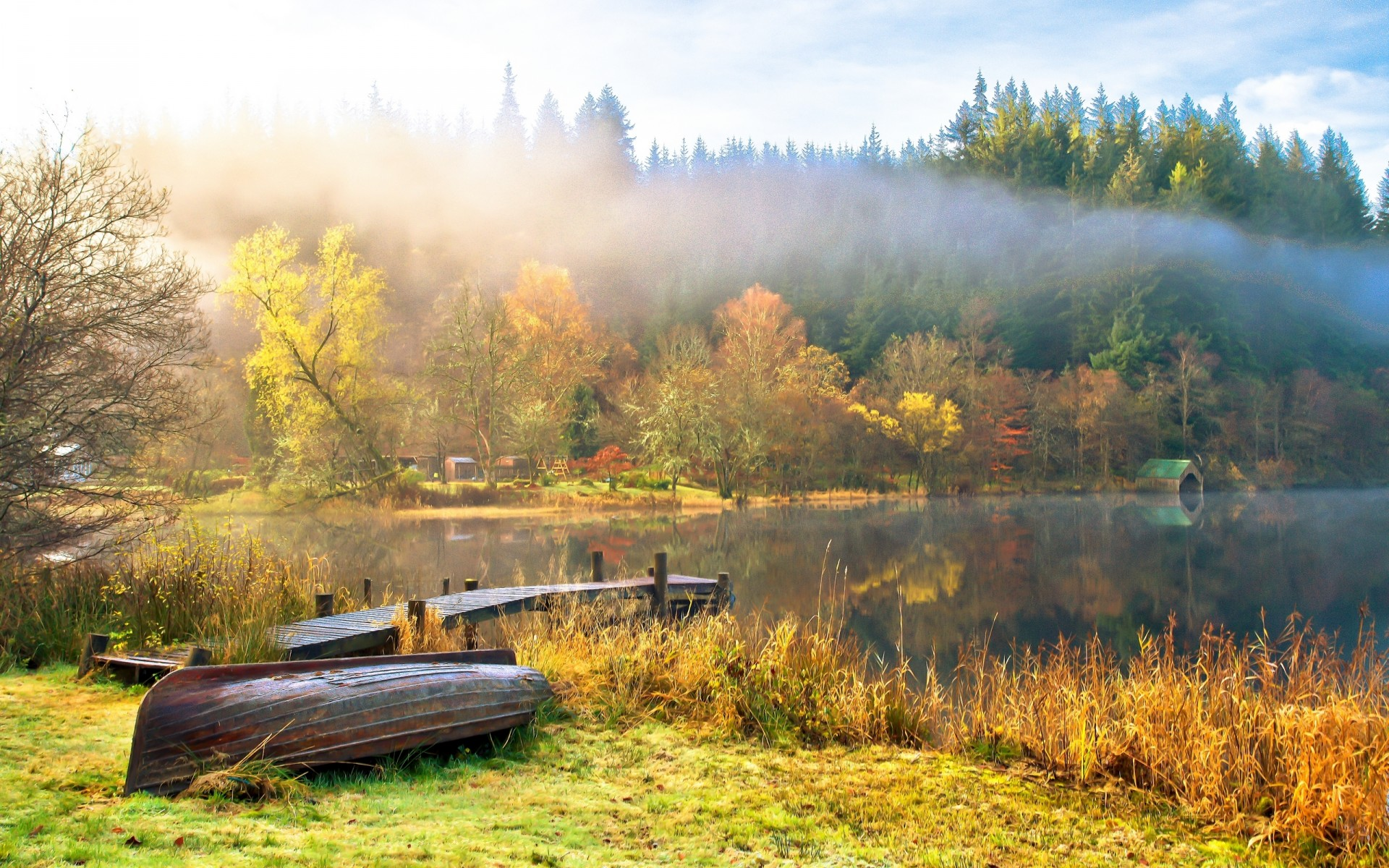 Nature Landscape Sky Clouds Lake Water Boats Trees Autumn Fog Reflection Fall Wallpaper 1920x1200 52174 Wallpaperup