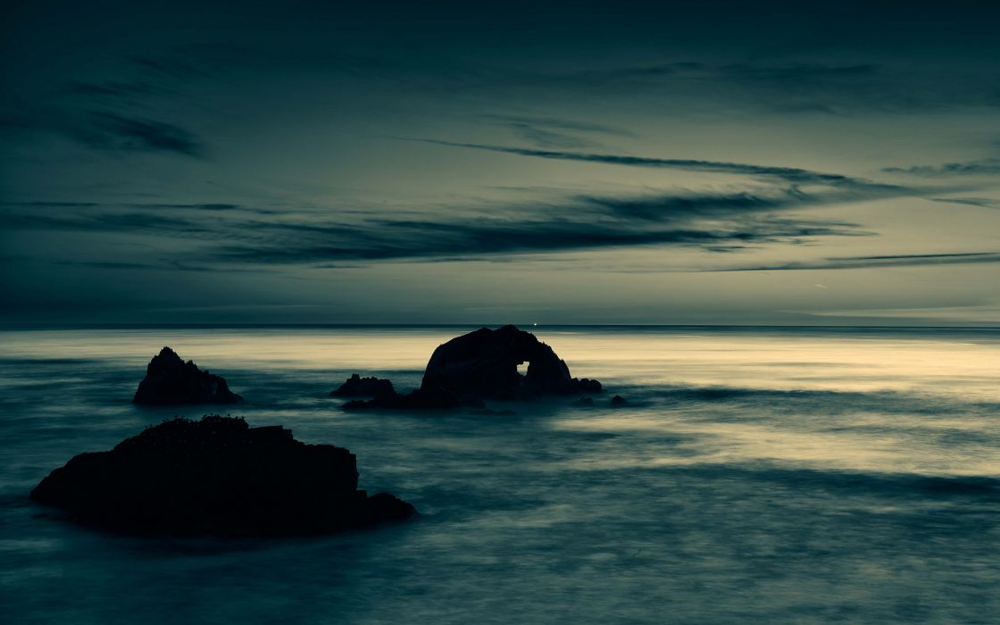 Ocean Rocks Stones Clouds Landscape sky beaches reflection ocean sea wallpaper