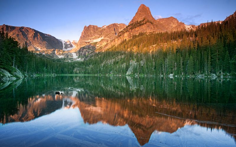 reflection lake mountains nature trees forest shore sky wallpaper