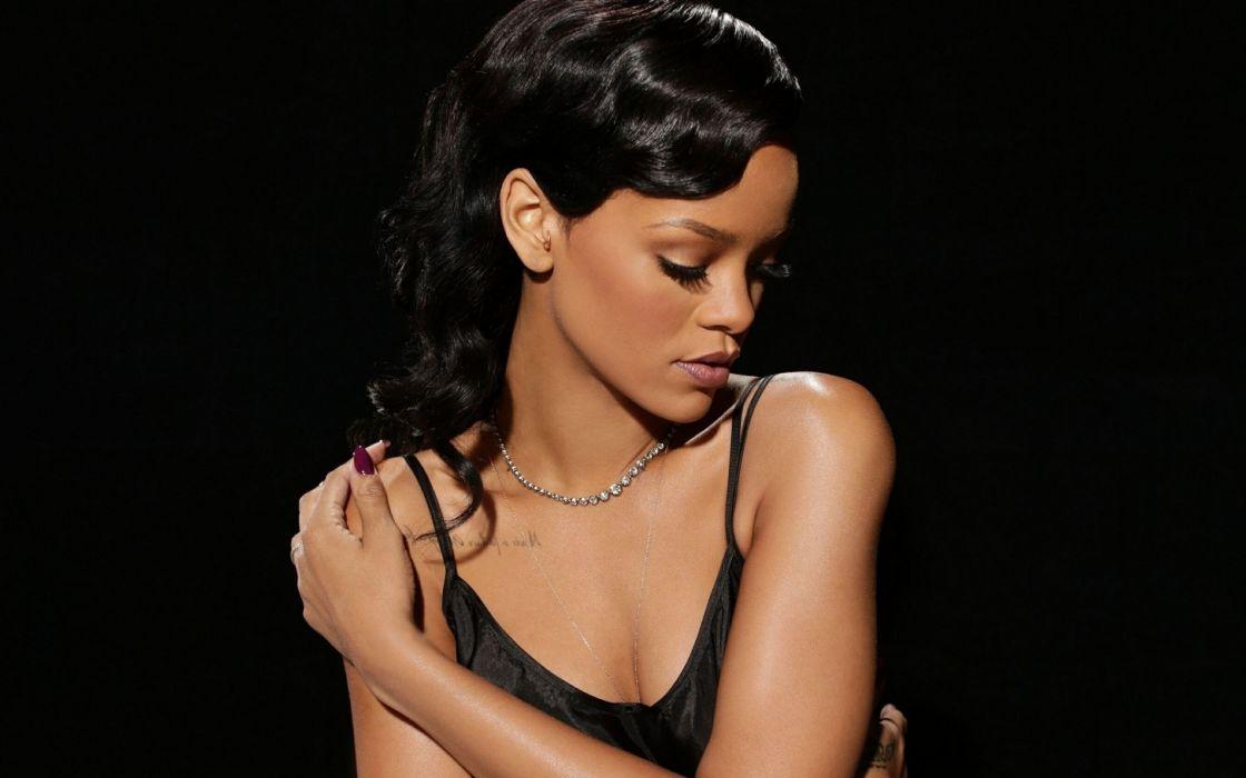 Rihanna tattoo brunettes women females girls babes sexy singer musician wallpaper