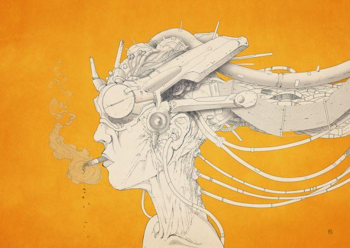 Robot Cyborg Orange Smoking steampunk women females girls cigarette wallpaper