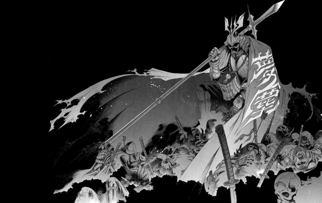 Samurai BW Black Drawing warrior dark skulls warrior weapons swords katana fantasy wallpaper