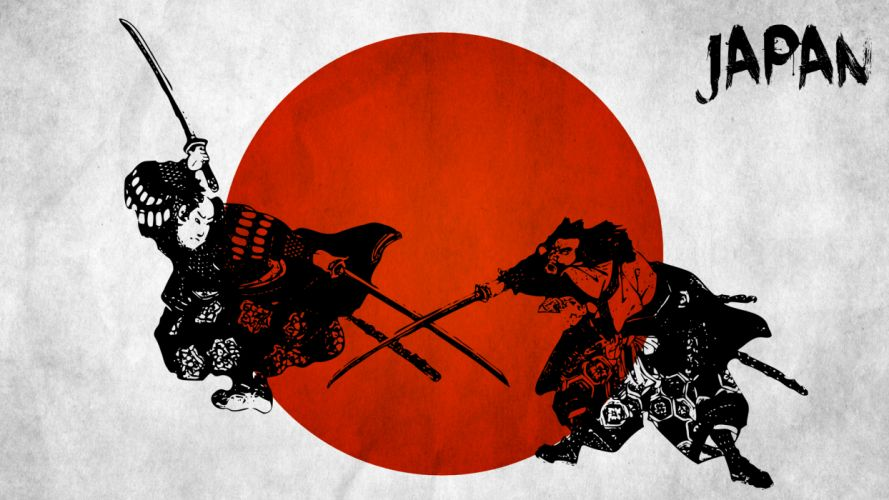 Samurai Japan weapons swords flags red battle fantasy warriors katana wallpaper