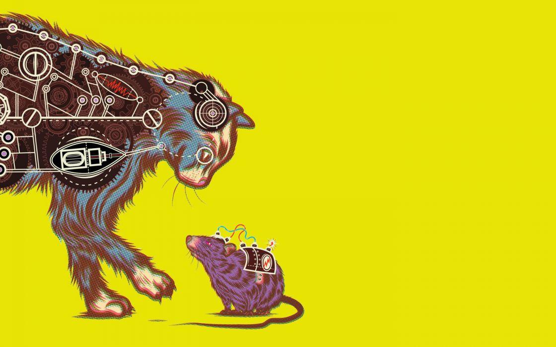 sci-fi humor cats mice mouse cartoon schematic wallpaper