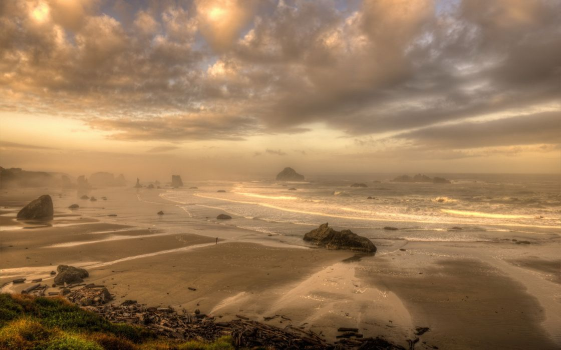 sea aeYaeY sunset  landscape ocean beaches coast shore sky clouds waves wallpaper