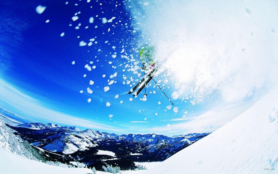 ski mountains extreme winter snow people sky sports wallpaper