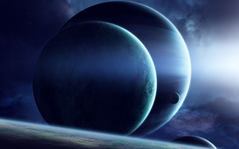 space planets stars shadows glare flash wallpaper