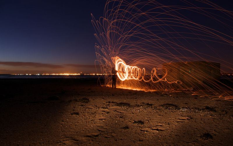 Sparks Timelapse Sparkler Night people fire beaches mood wallpaper