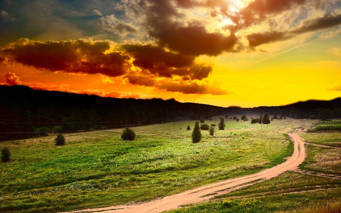Sun Sky Clouds Sunset Field Art Surreal Landscapes Sunset Sunrises