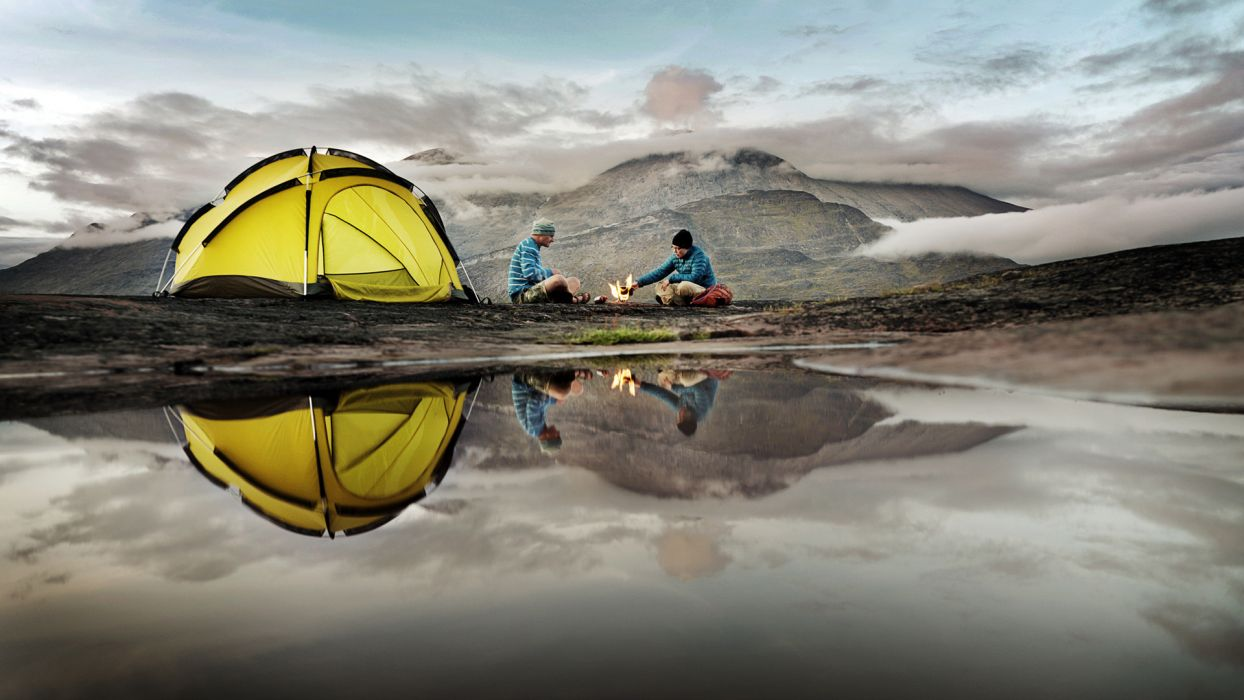 tent reflection camp camping sports lakes water mountains people