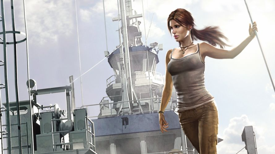 Tomb Raider Lara Croft Drawing cleavage face women females girls sexy babes brunettes ships military wallpaper