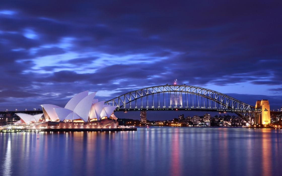 Australia Sydney Opera House bridge evening lights buildings architecture roads ocean sea bay harbor sky clouds wallpaper