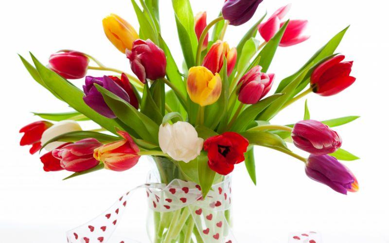 bouquet tulips vase ribbon colors still life wallpaper