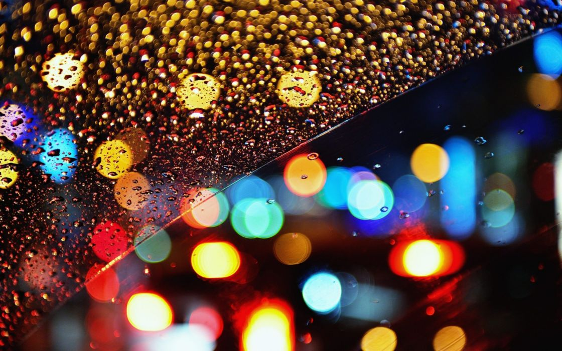 glass rain drops bokeh lights night color window wallpaper