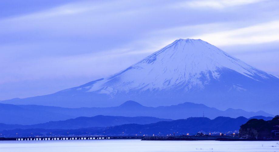 Japan island Honshu mountain Fuji sea ocean landscapes volcano sky clouds bridge night lights wallpaper
